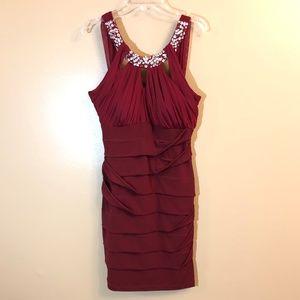 City Triangles maroon jeweled neck dress
